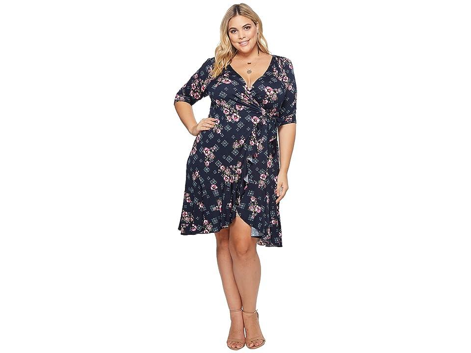 Kiyonna Flirty Flounce Wrap Dress (Navy Rose Print) Women