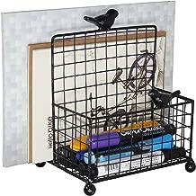 Metal Mesh Office Supplies Storage Rack, Mail Organizer, Wire Wall Mounted Mail Sorter/Desktop Storage Organizer Rack, Black