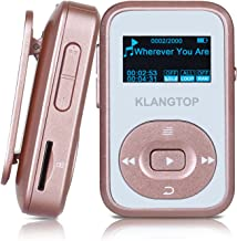 MP3 Player 8GB Bluetooth KLANTOP Digital Clip Music Player with FM Radio Voice Record Function Special Design for Sport and Music Lovers (Rose Gold)