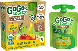 GoGo squeeZ Organic Applesauce on the Go, Apple Banana, 3.2 Ounce (48 Pouches), Gluten Free, Vegan Friendly, Unsweetened Applesauce, Recloseable, BPA Free Pouches (Packaging May Vary)
