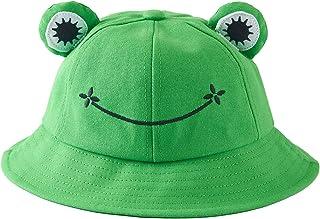 Nuolich Cute Frog Bucket Hat Adult Green Summer Cotton Bucket Sunhat Wide Brim Fisherman Hat for Women Teens Girls
