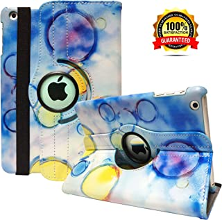 iPad Mini 1/2/3 Case - 360 Degree Rotating Stand Smart Cover Case with Auto Sleep/Wake Feature for Apple iPad Mini 1 / iPad Mini 2 / iPad Mini 3 … (Color Bubble)