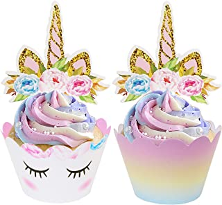 ecoZen Lifestyle Unicorn Cupcake Toppers and Wrappers Decorations (30 of Each) - Reversible Rainbow Cup Cake Liners with Unicorn Topper | Cute Decorating Supplies for Girl Birthday Party