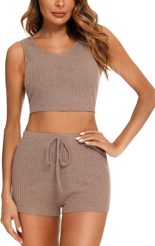 AGFAN Women Pajama Set Short Lounge Mesa Mall V Piece Crop Top trust 2 Neck