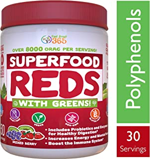 Superfood Vital Reds with Greens Juice Powder by Feel Great 365, Doctor Formulated,100% Non-GMO, Whole Food Multivitamin Powder - Fruits, Vegetables, Probiotics, Digestive Enzymes & Polyphenols