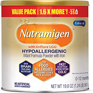Nutramigen Hypoallergenic Baby Formula from Enfamil- Lactose Free Milk Powder, 19.8 ounce - Omega 3 DHA, Probiotics for Di...