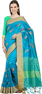 Viva N Diva Sarees for Women`s Embroidered Cotton Silk Woven Saree with Un-Stiched Blouse Piece,Free Size