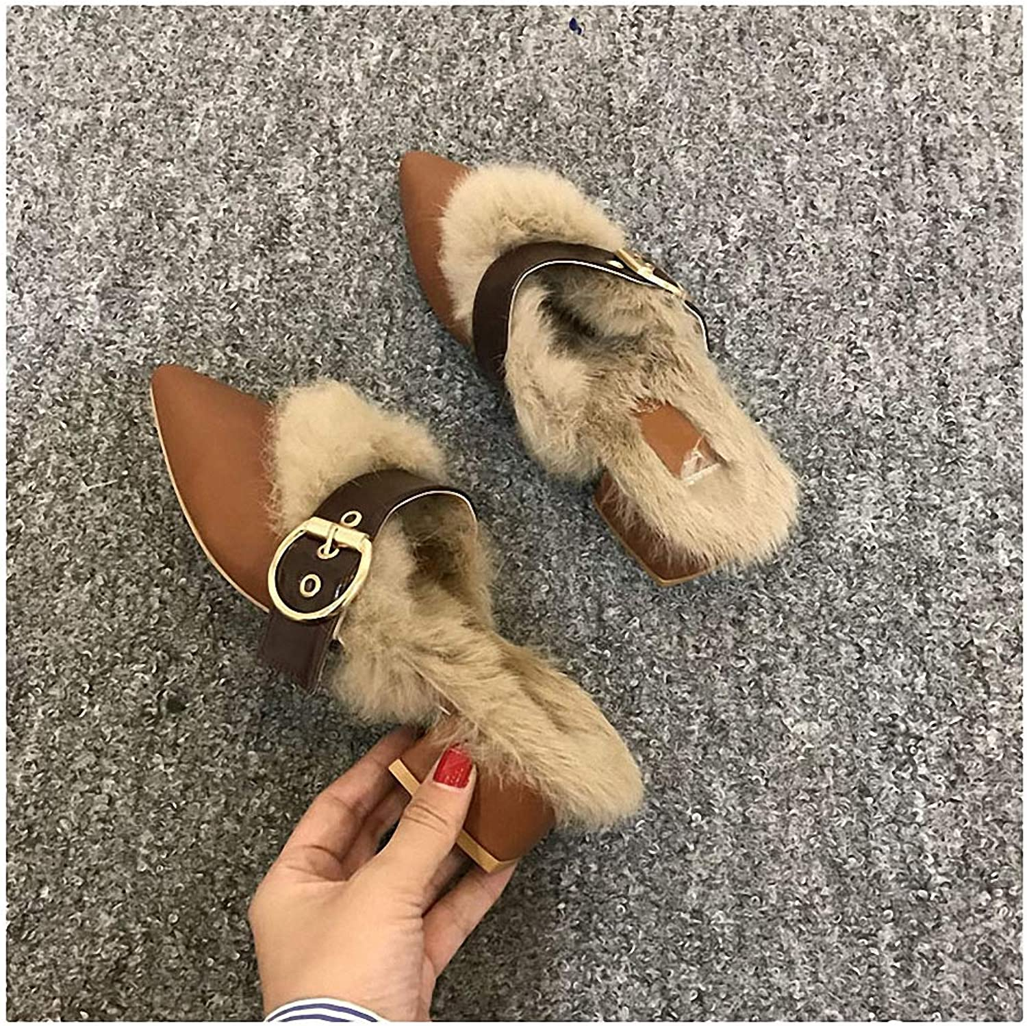 Womens Slippers Sexy Pointed Toe Mules shoes Women Warm Plush Fluffy Fur Slippers Autumn Winter Outdoor Furry Slides Home Slippers