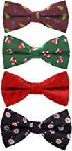 GUSLESON 4PCS Men's Christmas Bow tie Festival Theme Bowties Pre-Tied Neckwear Snow Tree Pattern