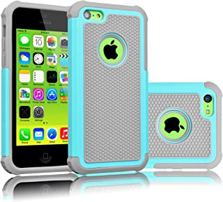 Tekcoo iPhone 5C Case, [Tmajor Series] [Turquoise/Grey] Shock Absorbing Hybrid Impact Defender Rugged Slim Case Cover Shell for Apple iPhone 5C Hard Plastic Outer + Rubber Silicone Inner