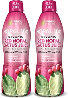 Maxx Herb Nopal 100 Organic Red Nopal Cactus Juice (32 oz), for Healthy Digestion, Blood Sugar Balance, Supports Normal Cholesterol Levels, Vegan, Non-GMO and Gluten Free (2 Bottles)