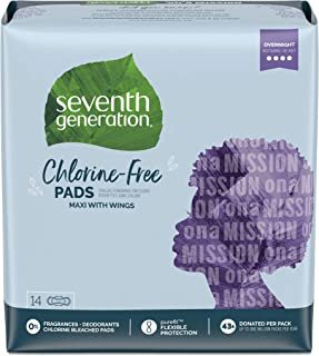 Seventh Generation Maxi Pads, Overnight with Wings, Chlorine Free, 14 count (Packaging May Vary)