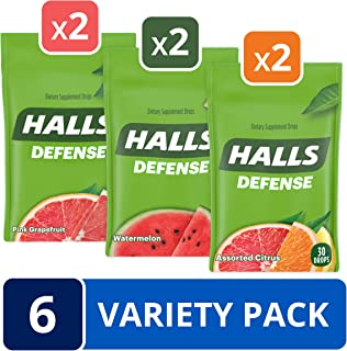 HALLS Defense Dietary Supplement Drops Variety Pack - 180 total drops (Watermelon, Assorted Citrus & Pink Grapefruit),30 Count (Pack of 6)