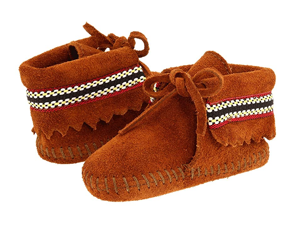 Minnetonka Kids Braid Bootie (Infant/Toddler) (Brown Suede) Kids Shoes