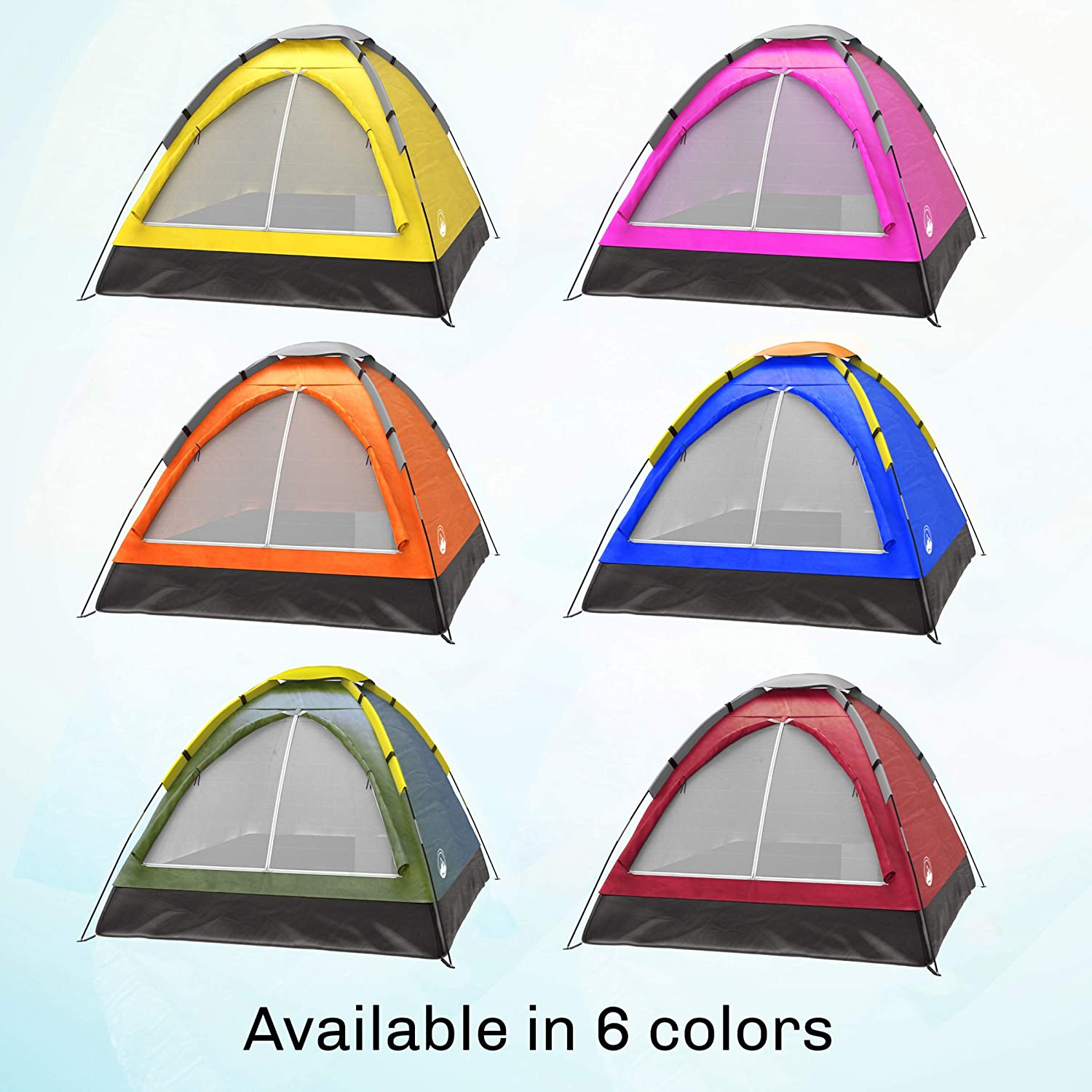 Rain Fly /& Carry Bag Wakeman Family-Tents 2-Person Dome Tent