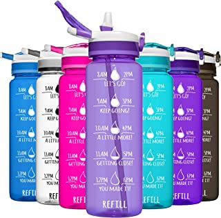 HydroMATE 32 oz Water Bottle with Straw and Motivational Time Markings Reusable Leak Proof BPA Free Bottle Time Marked to ...