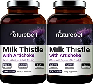2 Pack NatureBell Milk Thistle Extract 30:1, Made with Organic Milk Thistle Powder and Artichoke Extract, 9000mg Herbal Eq...