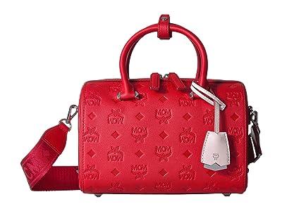 MCM Essential Monogrammed Leather Boston 23 (Viva Red) Satchel Handbags