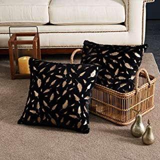OMMATO Throw Pillows Covers 18 x 18,Set of 2 Black Fur with Gold Leaves Soft Throw Pillows for Couch Bed,Accent Home Decorative Square Cushions Cases Shams Pillowcases Farmhouse,45 x 45 cm