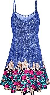 SeSe Code Women's Casual Spaghetti Strap Floral Printed Summer Beach Swing Dress