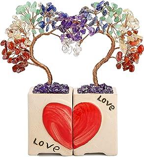 Jovivi - Árbol de la vida de chakra con corazón de amor, decoración de piedra natural, para curación, reiki, sanación, pie...