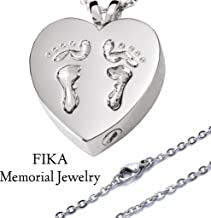 Loss of A Loved One Memorial Urn Necklace Baby Feet Footprints On A Heart (Silver)