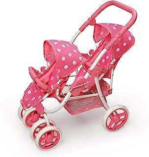 Polka Dot Reversible Double Doll Stroller by Badger Basket