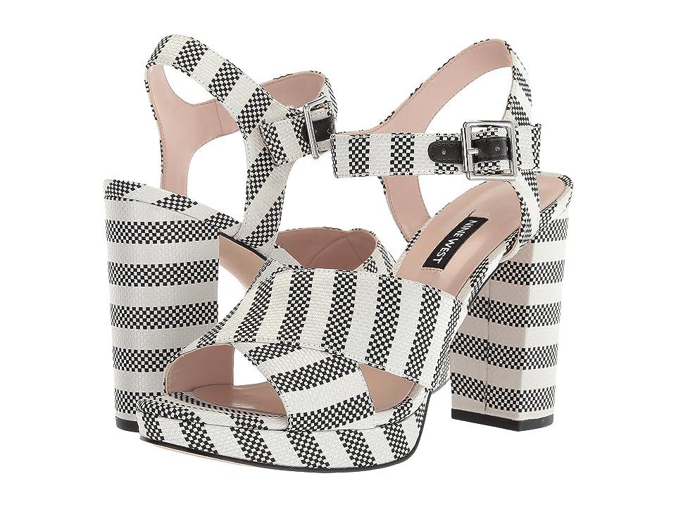 Nine West Jimar Platform Block Heel Sandal (Black/Off-White Fabric) Women
