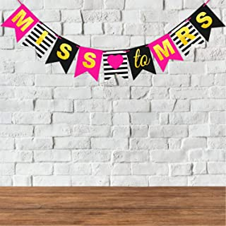 Wobbox Bachelorette Pink and Glitter Miss to Mrs. Party Bunting Banner, Bachelorette Party Decoration, Bachelorette Party ...