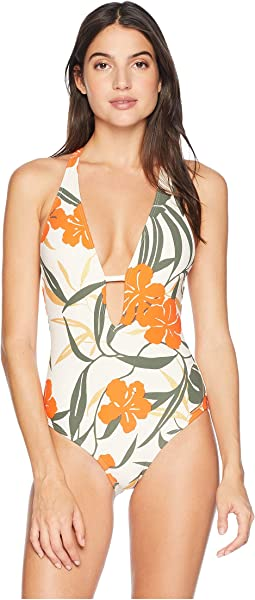 Tropical Bloom Plunging V-Neck One-Piece