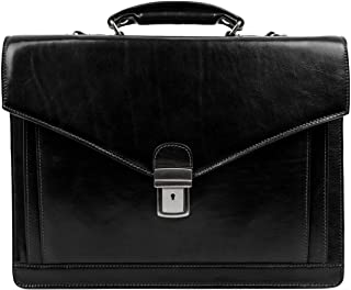 Schwarz Herren Ledertasche Aktentasche Umhängetasche 15 Zoll Laptoptasche Arbeitstasche Bürotasche Lehrertasche Notebooktasche Businesstasche   Time Resistance