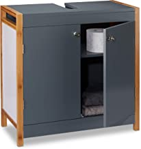 Bagno Altezza x Larghezza x profondit/à: 60/x 60/x 30.5/cm Bianco Relaxdays Mobiletto sottolavabo in Legno armadietto in Slat-Design lavabo Vanity