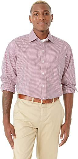 Long Sleeve Small Check Dress Shirt - Spread Collar