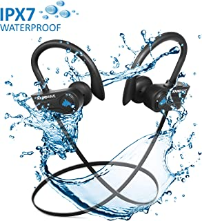 SoundWave Stereo Bluetooth 5.0 True Wireless Earphones, Premium Quality Exercise Mate for Sports, Gym, and Outdoors or just relaxing at home. IPX7 Waterproof, Sweat proof Headphones. CVC6.0 Noise Cancellation, Built-in Mic. Up to 10 Hours Playback Time. Works with all bluetooth devices.