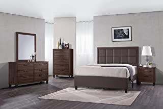 GTU Furniture 5Pc Queen Size Wood Bedroom Set, Bed + Night Stand + Mirror + Dresser + Chest (Old Wood)