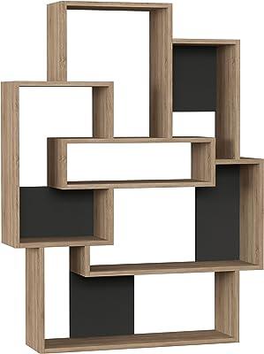 Ada Home Decor Bernard Modern Oak & Anthracite Bookcase 51.97'' H x 39.76'' W x 8.66'' D/Shelving Unit/Bookshelf