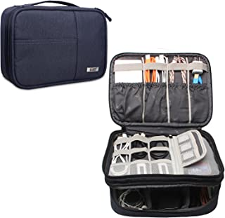BUBM Double Layer Gadget Carrying Storage Bag, Travel Electronics Organizer for Cables, Cord, USB Flash Drive, Battery and More, A Pouch fits for iPad (Large, Dark Blue)