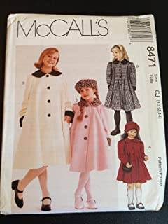 McCall's 8471 Size CJ (10,12,14) Children's and Girls' Lined Coat and Hat in Two Sizes, Sewing Pattern