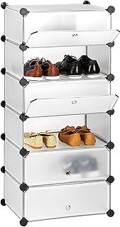 Relaxdays Meuble chaussures fermé rangement 6 casiers plastique chaussures modulable DIY HxlxP: 107x49x37 cm, transparent