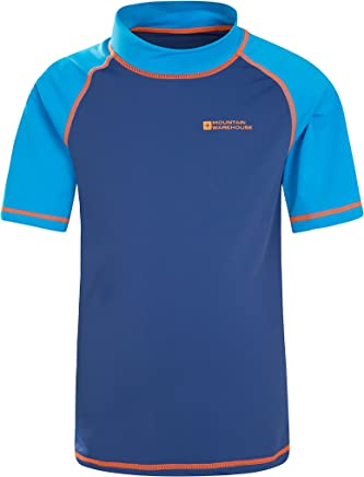 Mountain Warehouse Short Sleeves Kids Rash Vest - UPF50+ Sun Protection Rash Guard, Quick Drying, Flat Seams Childrens Rash Top - for Swimming & Under a Wetsuit