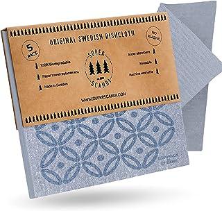 SUPERSCANDI Zweedse vaatdoeken herbruikbare biologisch afbreekbare cellulosespons reinigingsdoeken voor keukenpapier handd...