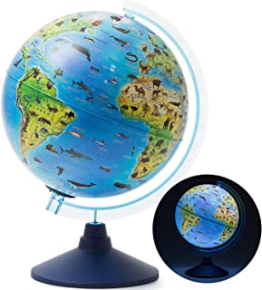 "Exerz 10"" / 25CM Zoo-Geo Illuminated Globe Safari with Cable Free LED Light/ 2 in 1/.."