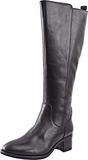 Allonsi Garnet Women's Genuine Leather Block Heel Knee High Riding Boots with Mid-Heel, TPR Sole and Zip Closure