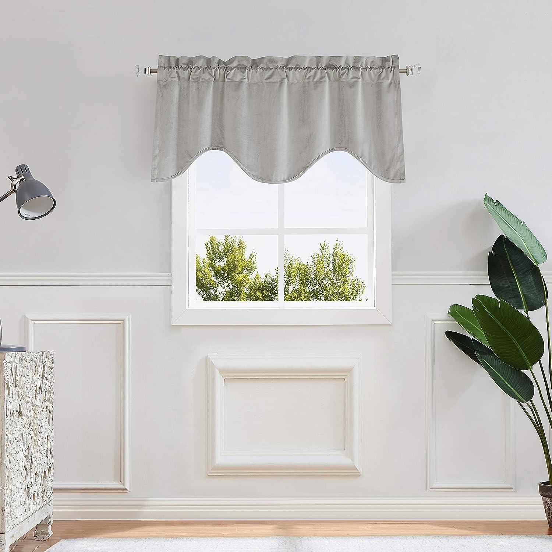 Central Park Velvet Scallop Window Valance for Kitchen Bedroom Living Room Moderate Blackout Rod Pocket Casual Modern Design, 50