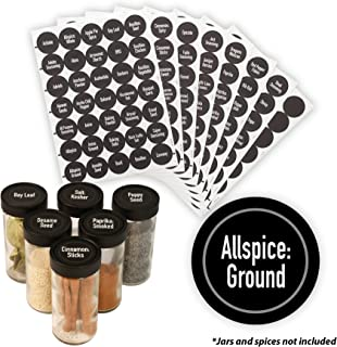 "AllSpice 315 Preprinted Water Resistant Round Spice Jar Labels Set 1.5""- Fits Penzeys and AllSpice Jars- 4 styles to choos..."