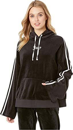 Velour Side Slit Hoodie Pullover