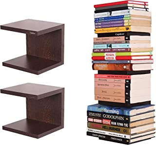 Captiver Unseen Wall Mounted Books Shelf Set of 2 in Wenge Colour