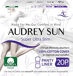 AUDREY SUN All Natural Cotton Pads for Women and Panty Liners - 100% Chemical-Free Cotton - Panty Liner - 40 Count (Packaging May Vary) - Made in Korea