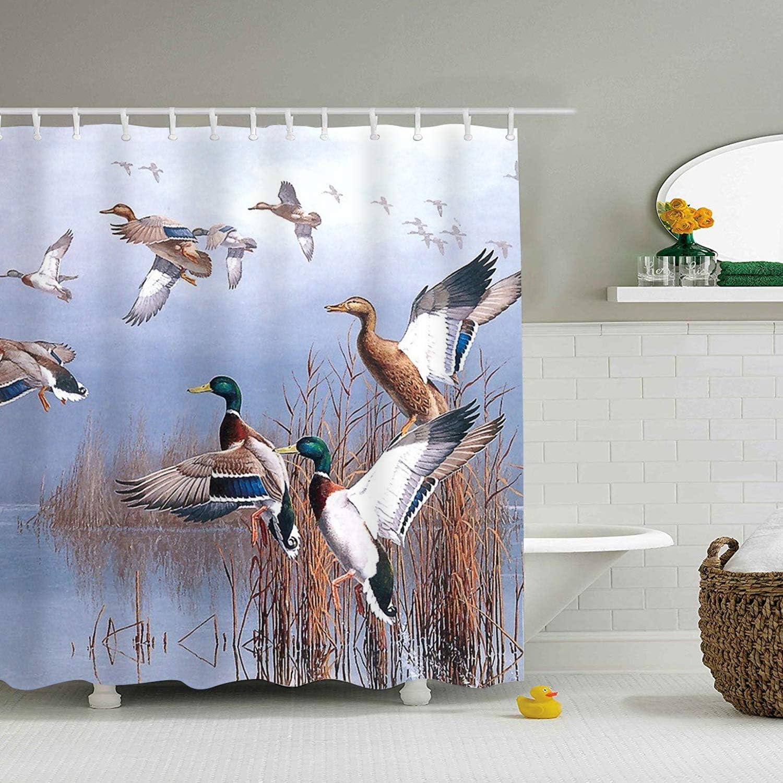 WANL Mallard Ducks Flyling Bathroom Curtain Duck Shower Hunting Kansas City Super sale Mall