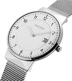 AIKURIO Unisex Wrist Watches Analog Quartz Waterproof with Stainless Steel Strap and Calendar AKR010